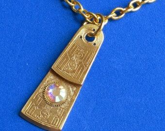 SALE Steampunk necklace Rare genuine Antique Fusee Pocket Watch balance part Hand etched piece AB Swarovski crystal