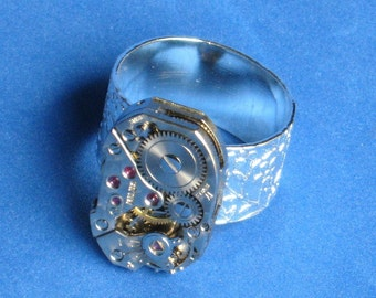 ADJUSTABLE Steampunk ring Silver Rare pattern texture suface Jewelled Vintage watch piece Wide band Small to Large Raised Floral Pattern