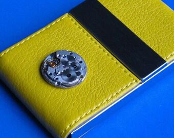 Business Card Case Leather ette Card holder Lemon yellow case Vintage watch mechanism  Dual magnetic center flap Closure Exclusive