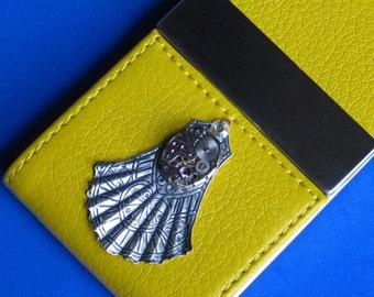Business Card Case Free Shipping Lemon Yellow Superior Magnetic Dual flap Closure, 3-D Art Deco Fan, Vintage Watch Mechanism