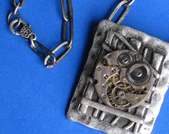 Mens metalwork chain necklace Rustic Steampunk gift Vintage jewelled watch piece ox silver chain / metal components