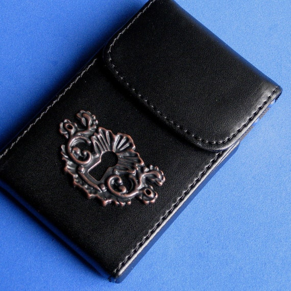 NEW SIZE Card Holder/ Case with Hinged UPWARD Lifting Mechanism entry Cast metal oxidized key hole plate replica