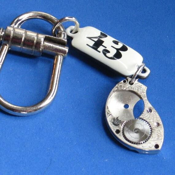 SALE KEYCHAIN Beltloop Accessory or Purse jewelry Vintage watch part Spring Tension Pull Pin yet Easy On off Enamel locker tag