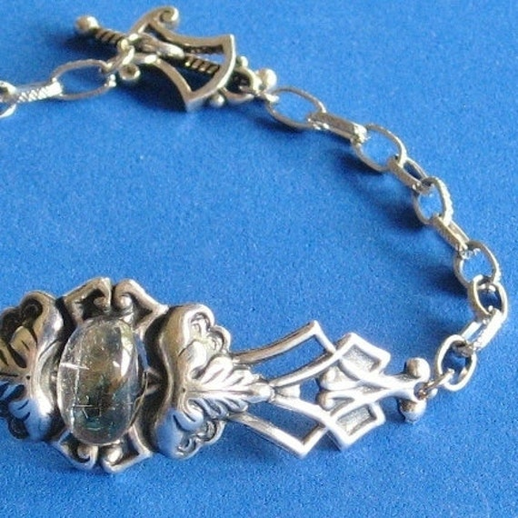 One of a Kind Rutilated Quartz bracelet, Women art Noveau gift, Silver plated antique finish, Sterling silver clasp
