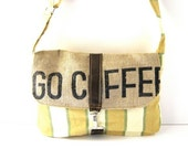 Yellow-Green Striped Canvas and Recycled Coffee Burlap Satchel