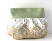 Clutch // Seafoam Green Vegan Leather - Tan-White Alpine Print // Made to Order
