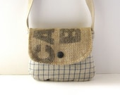 Date Purse // Recycled Coffee Burlap - Navy-Natural Grid Linen // Made to Order