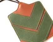 Luggage Tag // Chevron // Orange Vegan Leather - Green Vegan Leather - Stocking Stuffer