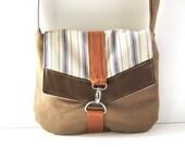 Satchel // Brown Tweed - Blue-Cream Striped Canvas - Orange Canvas // Made to Order
