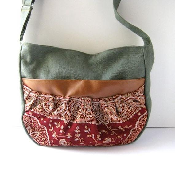 Royal Red Sari and Aquamarine Bunch Bag