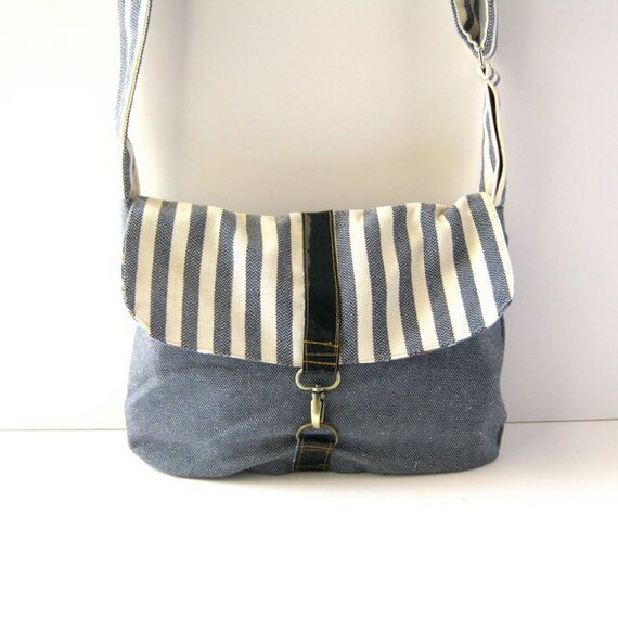 Blue and White Striped Canvas and Blue Cotton Satchel