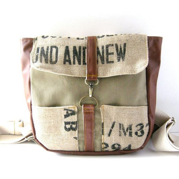 Olive Khaki Canvas with Red Vegan Leather and Recycled Coffee Burlap Haversack - Backpack Straps
