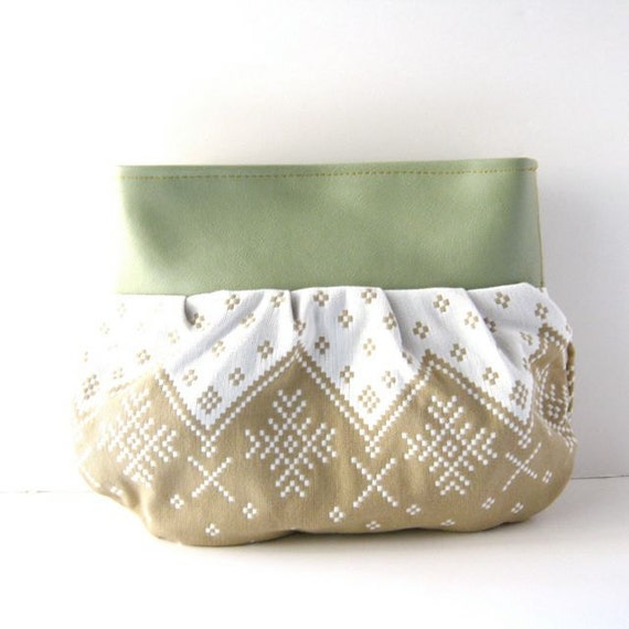 Clutch // Seafoam Green Vegan Leather - Tan-White Alpine Print // Made to Order