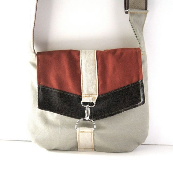 Satchel // Gray Khaki Canvas - Rust Red Canvas - Black-Brown Vegan Leather // Ready to Ship