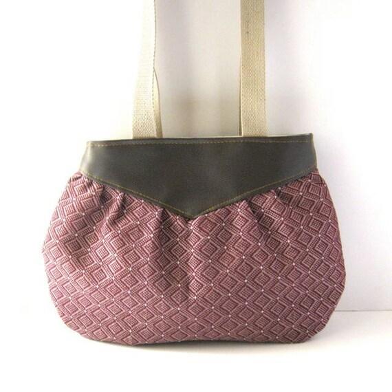 Yoke Tote // Brown Vegan Leather - Pink-Purple Geometric Woven Canvas