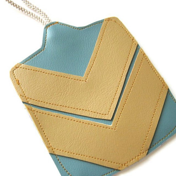 Luggage Tag // BLACK FRIDAY ETSY - Stocking Stuffer // Chevron // Aqua Blue Vegan Leather - Mustard Yellow Vegan Leather // Ready to Ship