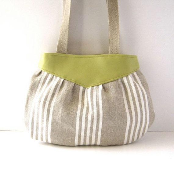 Yoke Tote // Natural and White Striped Linen - Chartruse Green Vegan Leather // Made to Order