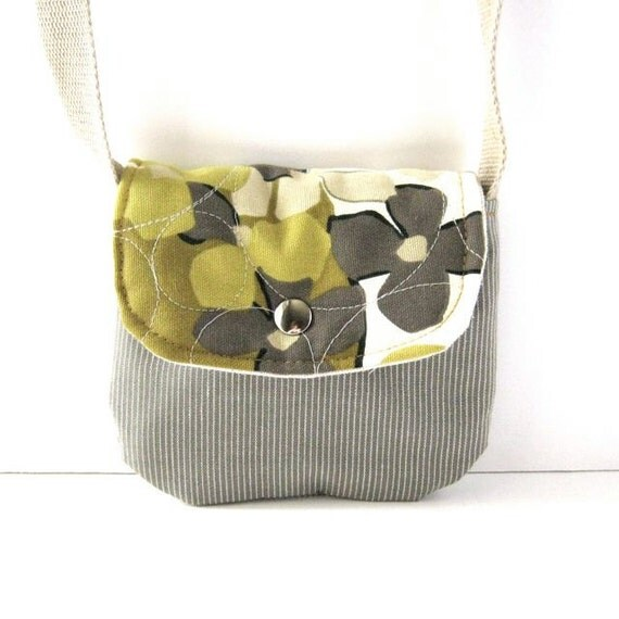 Date Purse // Quilted Green Floral - Gray Pinstriped Canvas // Made to Order