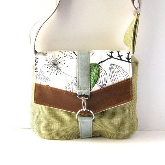 Satchel // Lime Green Tweed - Doodle Leaf Cotton // Made to Order