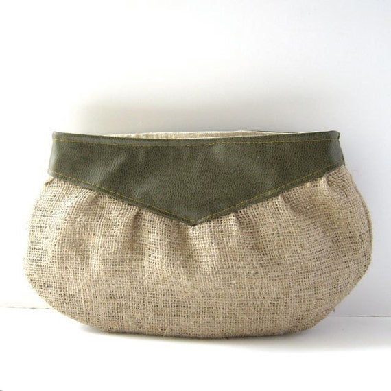 clutch // textured olive green faux leather - rustic burlap // bridesmaid gift - casual clutch