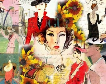 ZNE ATC ACEO -  Vogue on Display 1 - Digital Collage Art by Ruby
