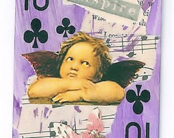 ZNE ATC ACEO - Angel To Inspire - Altered Art - Mixed Media Collage Art by ruby