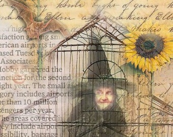 ZNE ATC ACEO - The Witch Cage - Digital Collage Art by ruby