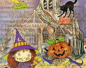 ZNE ATC ACEO - It's Halloween - Digital Collage Art by ruby