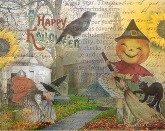ZNE ATC ACEO - Happy Halloween - Digital Collage Art by ruby