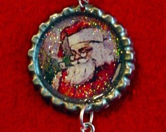 Altered Art Bottle Cap Necklace - Smiling Santa- Art by ruby