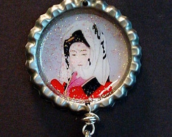 Altered Art Bottle Cap Necklace - Oriental Lovely - Art by ruby