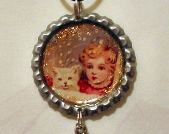 Altered Art Bottle Cap Necklace - My Little White KItty - Art by ruby
