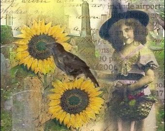 ACEO - A Sunny Witch Day - Digital Collage Art by ruby