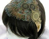 Ozion - Oasis blue and patterned ringneck bird feathers with antiqued brass steampunk style charms  -  headdress fascinator headband, comb, or elastic band  your choice