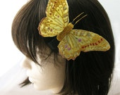 Butterfly feather hair clip - Golden Monarch- Bedazzled design with gold glitter -  feather hair clip fitting for a fairy court
