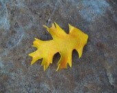 Leather Oak Leaf Hair Barrette in Yellow