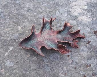 Leather Oak Leaf Hair Barrette in Brown
