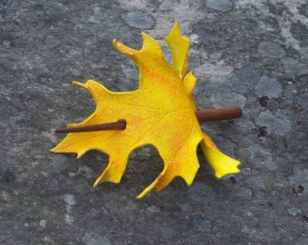 Yellow  Oak Leaf Leather  Hair Cup