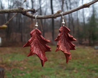Red Leather Oak Leaf Earrings