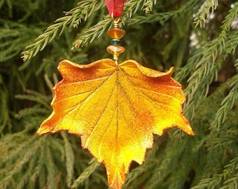 Sculpted Leather Maple Leaf Ornament