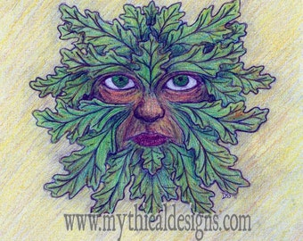 Green Man 1 Blank Greeting Card