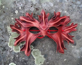 Scarlet Autumn Green Man Leather Mask