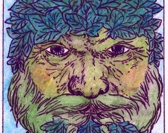 Ivy Leaf Green Man 1 ACEO