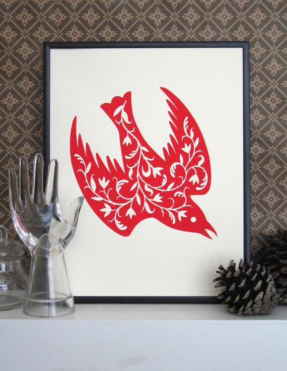 The Fancy Bird Print (red)