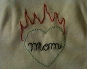 Flaming heart tattoo hand embroidered onesie- 12 months