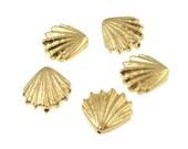 20 Shell Beads Antique Gold Sea Shell Beads TierraCast Seashell Beads BULK BAG (P532)