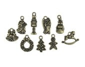 10 TierraCast Christmas Charms - Antique Brass Charm Collection Mix Set - Tierra Cast Bronze Charms