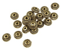 6mm Gold Beads CROWN HEISHI Beads by TierraCast Pewter - Antique Gold Spacer Beads Watch Winder Beads - Gold Metal Beads (PS307)