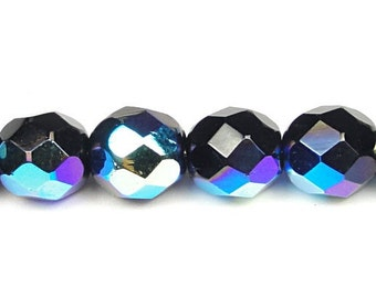 25 JET BLACK AB 8mm Faceted Round Beads - Czech Glass Fire Polish Firepolish Black Beads - Aurora Borealis 8mm Beads