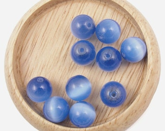 Blue Cats Eye Beads 10 10mm Round Sapphire Blue Fiber Optic Beads